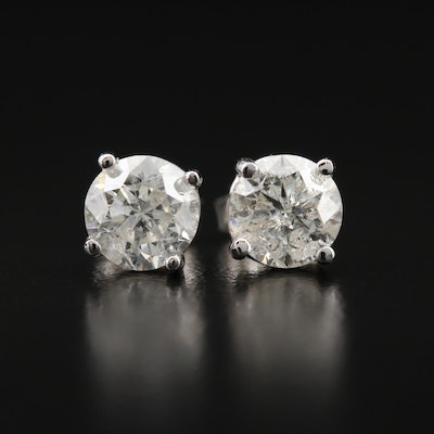 14K 1.94 CTW Diamond Solitaire Stud Earrings