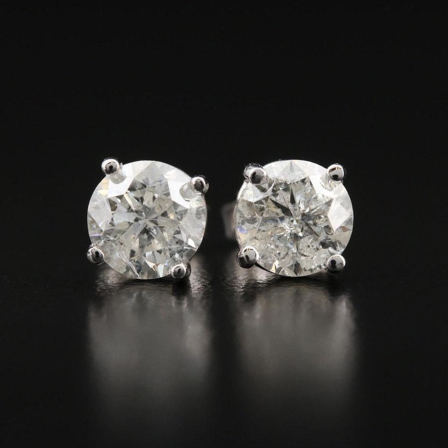 14K 1.94 CTW Diamond Solitaire Stud Earrings