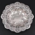 Meriden Britannia Co. Rose Border and Openwork Sterling Silver Centerpiece Bowl
