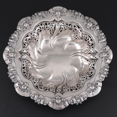 Meriden Britannia Co. Rose Border and Openwork Sterling Silver Centerpiece Bowl