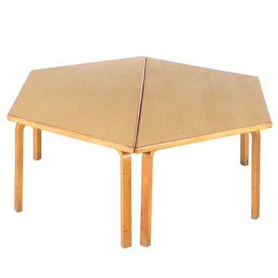Two-Part Modernist Bentwood and Laminate Top Coffee Table