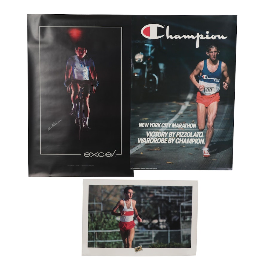 Offset Lithograph Portrait of Lon Haldeman with Sportswear Advertisement Posters
