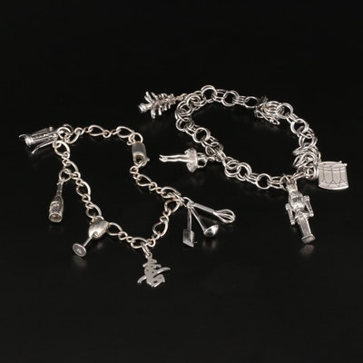 Sterling Charm Bracelets Featuring Nutcracker Ballet Themed Bracelet
