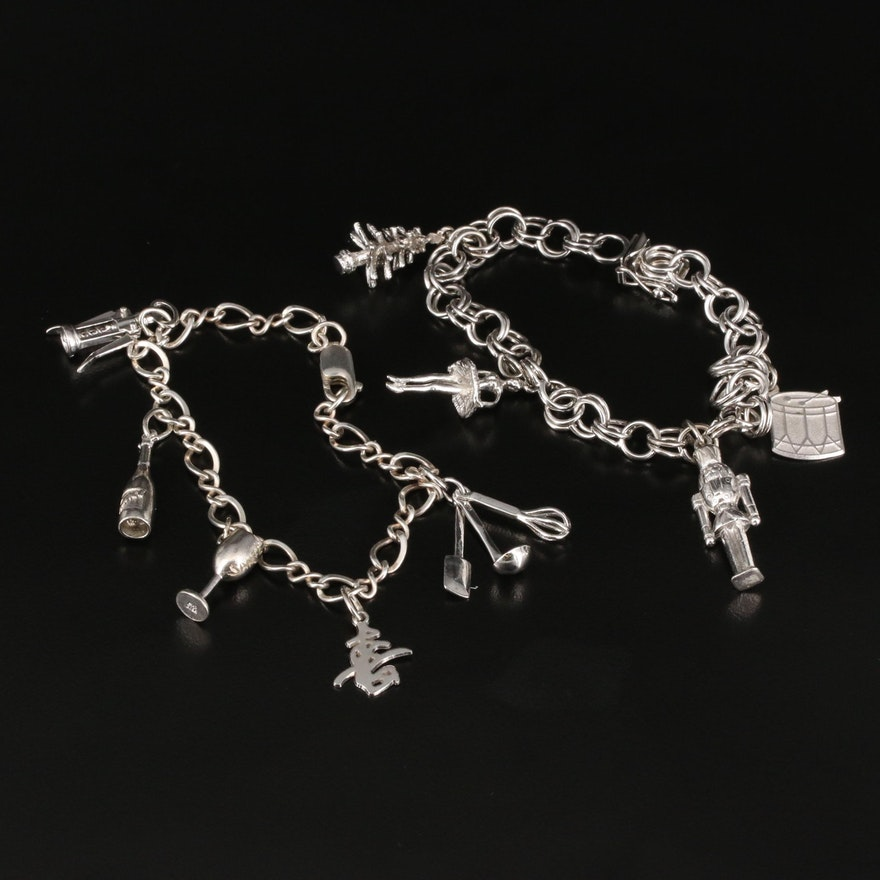 Sterling Charm Bracelets Featuring Nutcracker Ballet Themed Bracelet