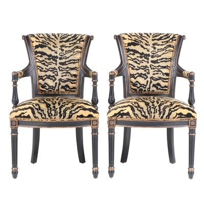 Pair of Jardine Enterprise Ltd. Louis XVI Style Ebonized & Parcel-Gilt Fauteuils