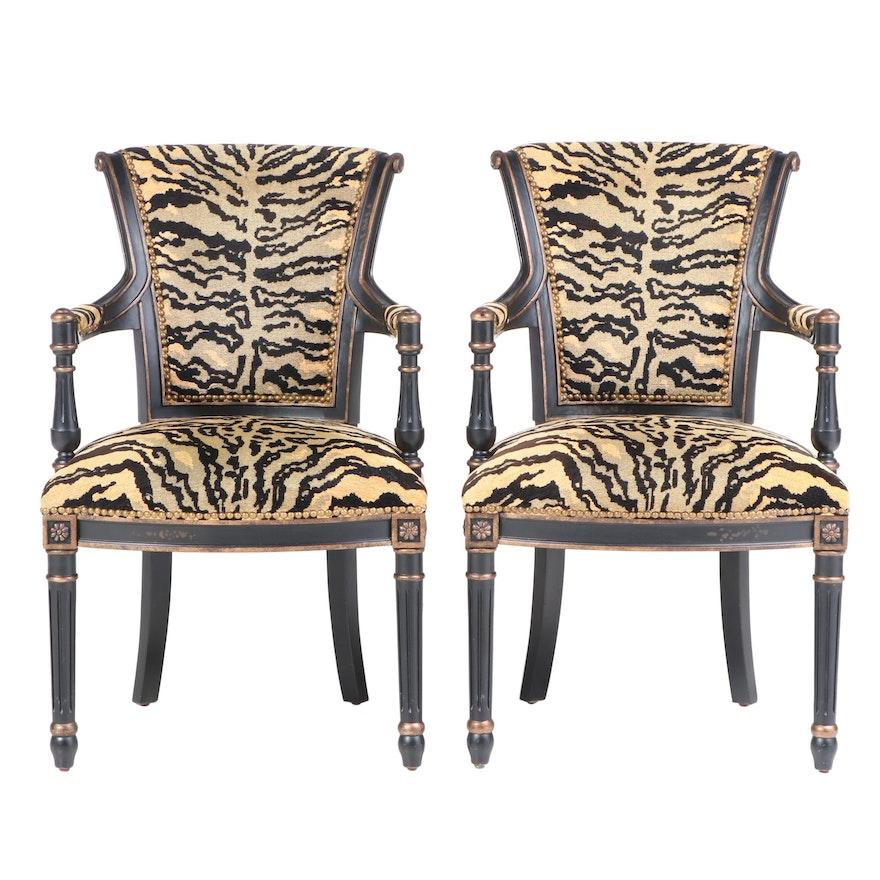 Pair of Jardine Enterprise Ltd. Louis XVI Style Ebonized & Parcel-Gilt Fauteuils