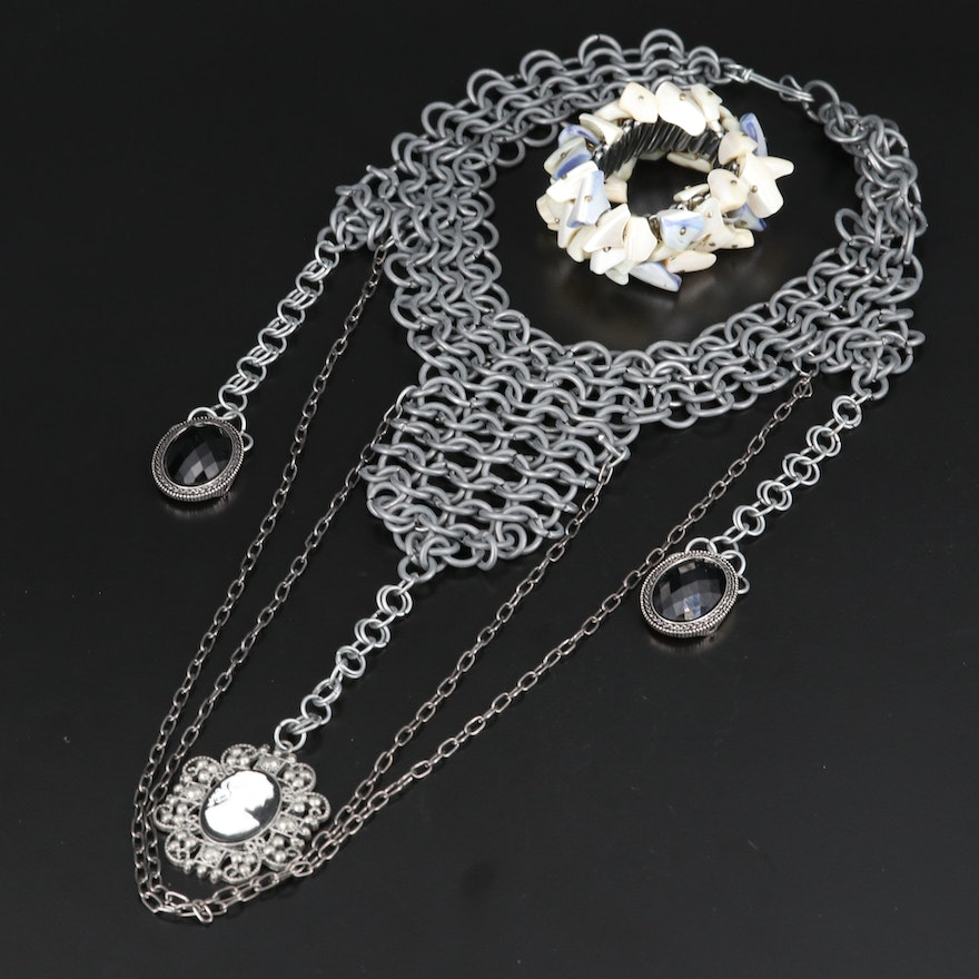 Gothic Themed Necklace and Mother of Pearl Expandable Bracelet