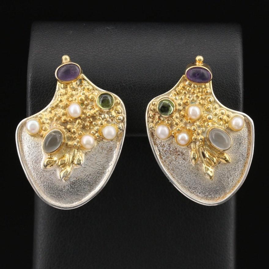 Artisan Sterling Gemstone Drop Earrings