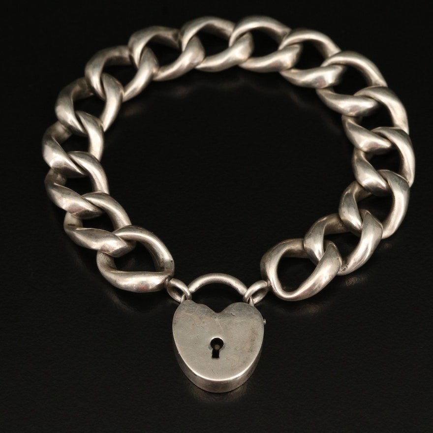 Sterling Curb Link Bracelet with Padlock Clasp