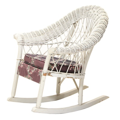 Painted Wicker Child's Rocking Chair, 20th Century