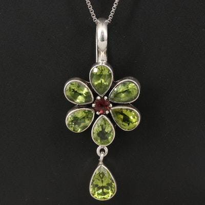 Sterling Silver Peridot and Tourmaline Flower Necklace