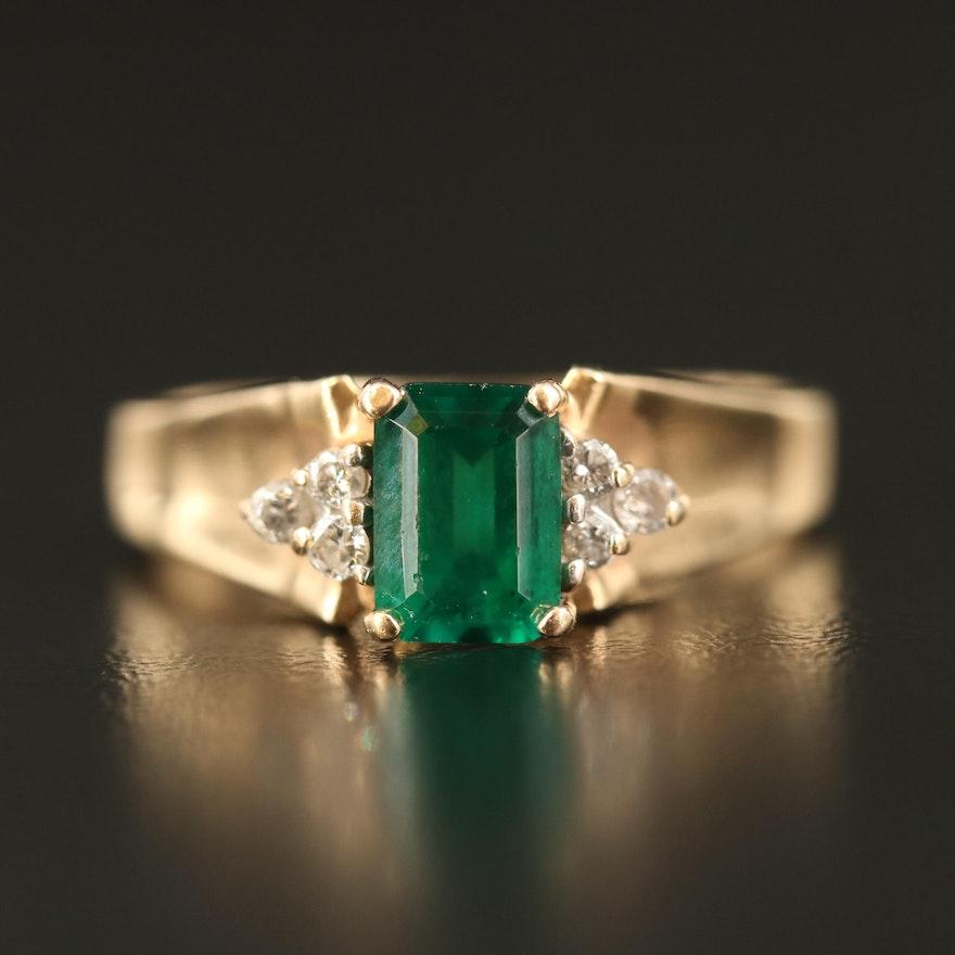 14K Emerald and Diamond Ring
