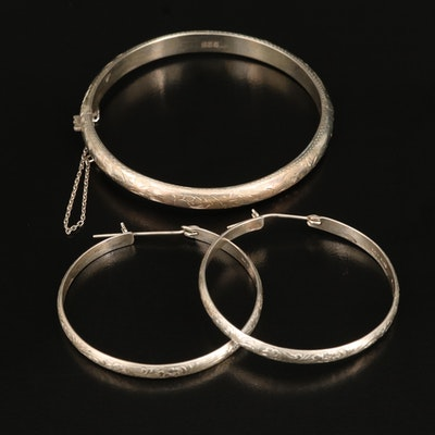 Sterling Hoop Earrings and Etched Bangle