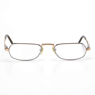 Bulgari Mixed Metal Tone Rectangular Frame Eyeglasses with Case
