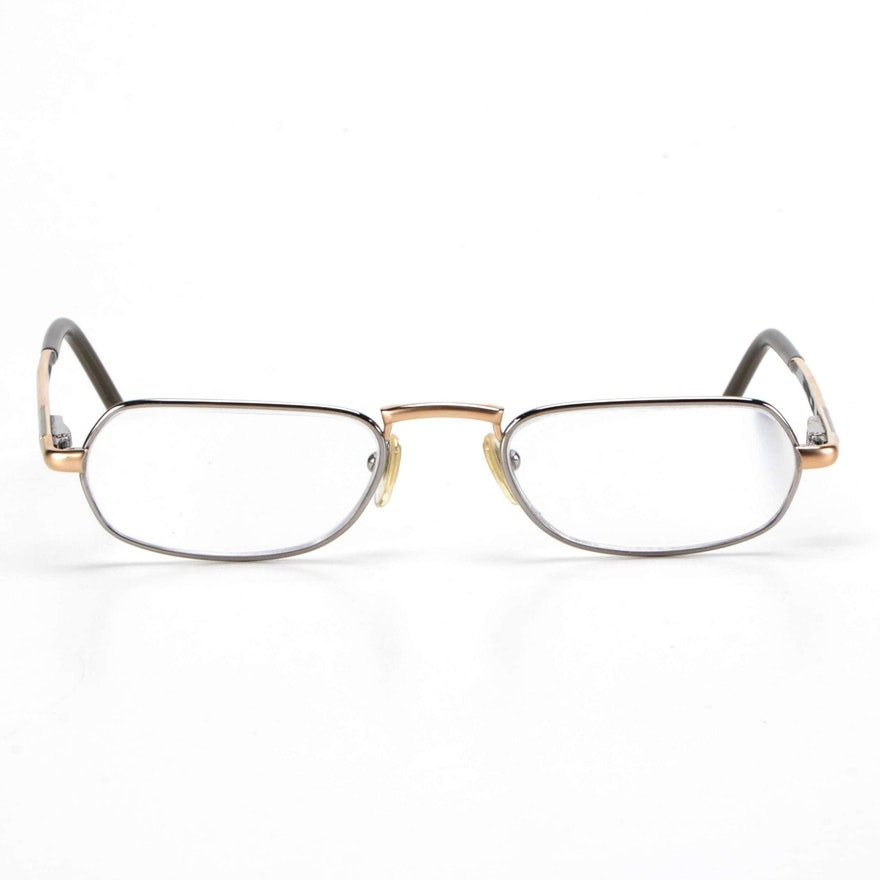 Bulgari Mixed Metal Tone Rectangular Frame Eyeglasses with Case