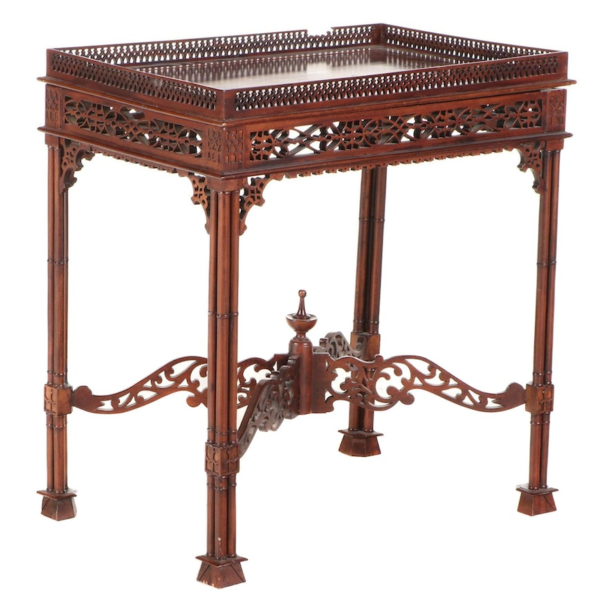George III Style Mahogany Tray-Top Side Table