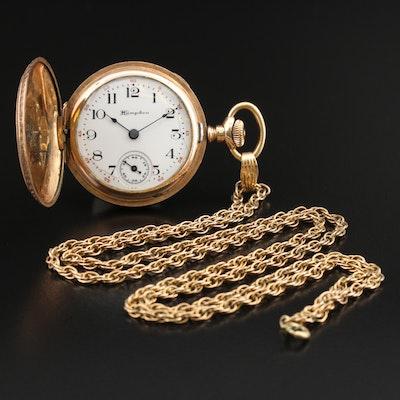Antique Hampden Gold-Filled Hunting Case Pocket Watch