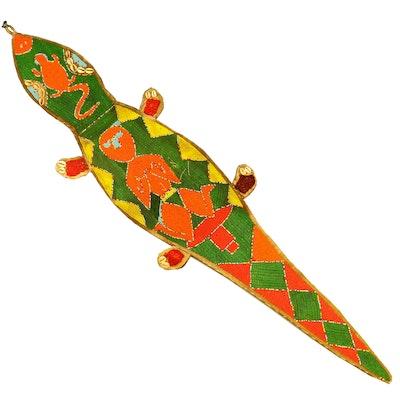 Yoruba Beaded Lizard Form Sash, Mid to Late 20th Century