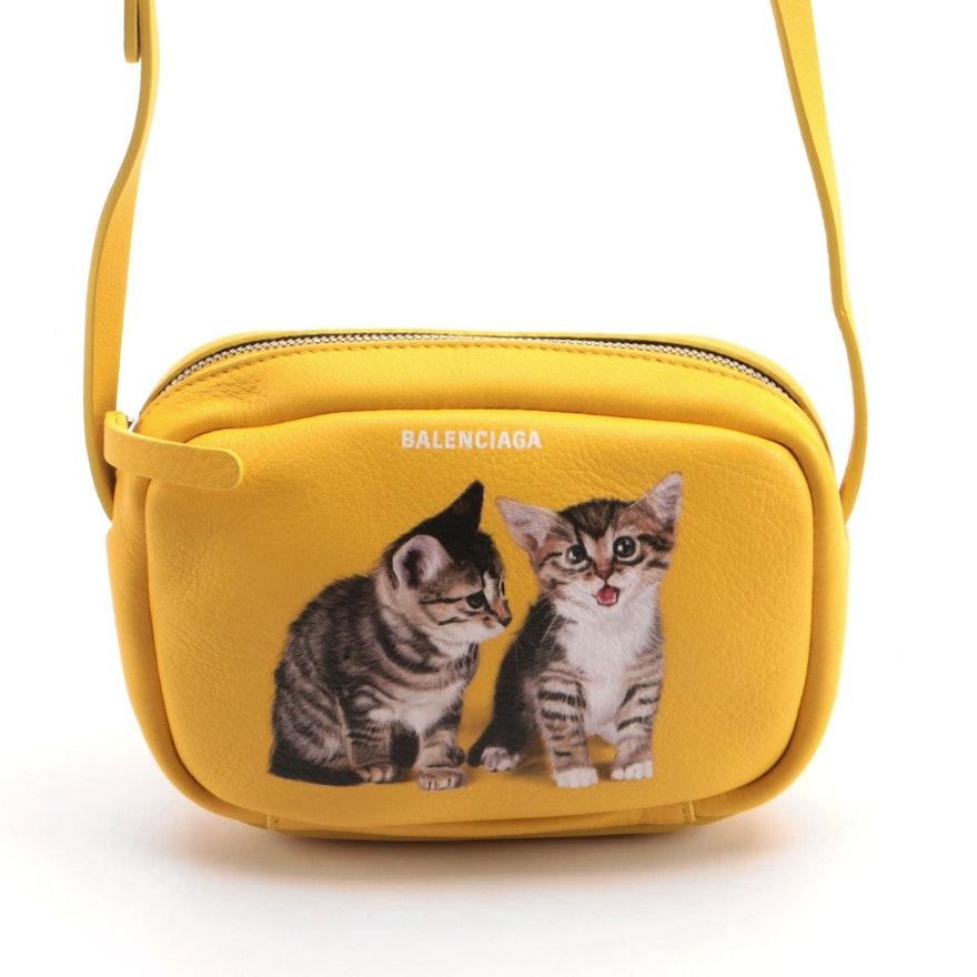 Balenciaga Everyday Kitten Printed Yellow Calfskin Leather Camera Bag