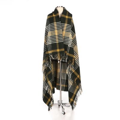 Michael Collins House of Ireland Wool Plaid Fringed Travel Shawl