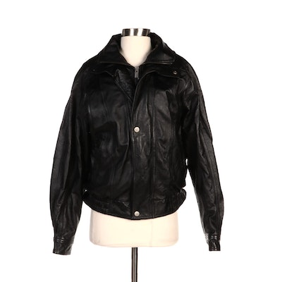Men's Wilsons Leather Co. Black Motorcycle Jacket with Removable Lining