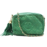 Chanel CC Tassel Camera Bag in Green Satin and Leather