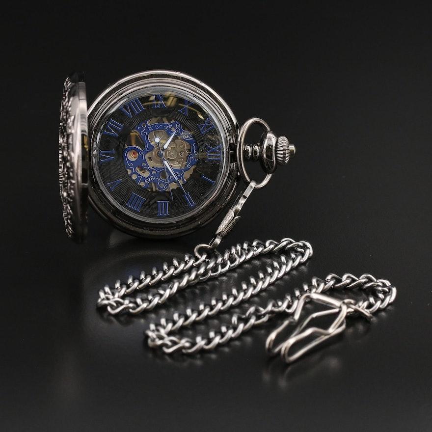 Modern Stem Wind Pocket Watch Featuring Steampunk Design