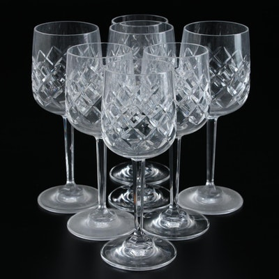 Crystal Diamond Patterned Cordial Glasses, Late 20th Century