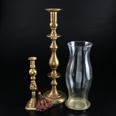Federal Style Brass Candlestick and Pillar Holder with Hurricane Globe