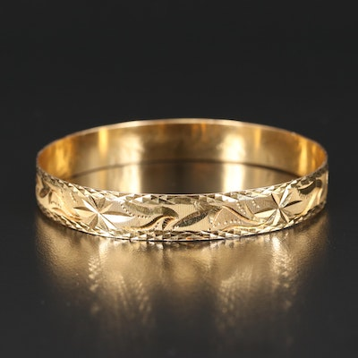 Vintage Iranian 18K Diamond Cut Bangle