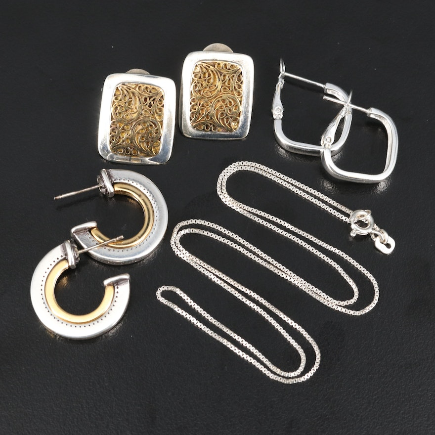 Box Chain Necklace and Earrings Including Sterling
