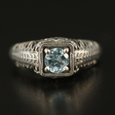 Vintage Sterling Topaz Ring with High Openwork Gallery