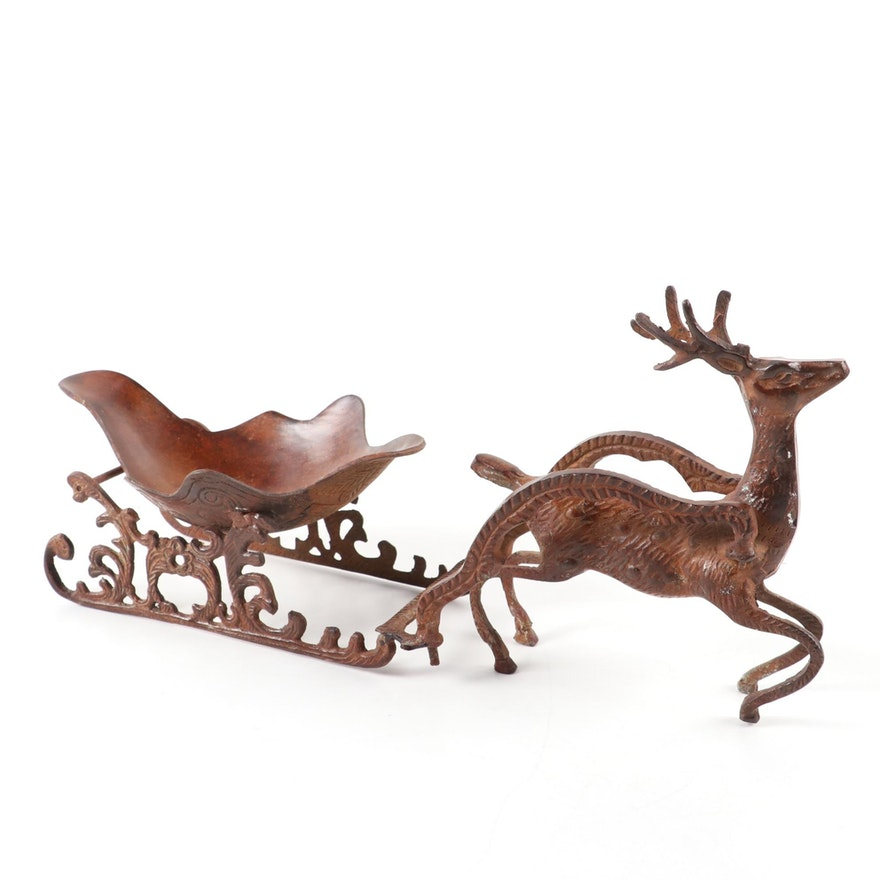 Indian Chased Metal Reindeer Sleigh Table Centerpiece Bowl