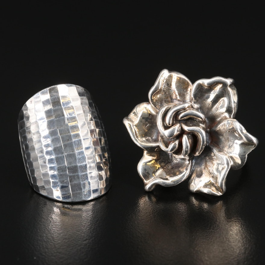 Sterling Silver Flower and Faceted Dome Rings