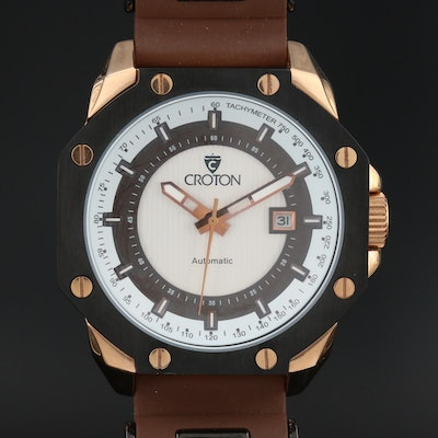 Croton Rose Tone Stainless Steel Automatic Wristwatch with Date Window