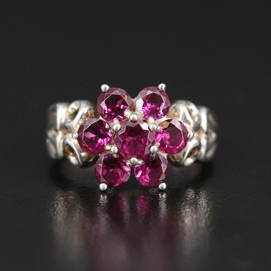 Sterling Silver Garnet Flower Ring