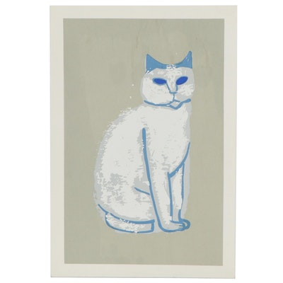 Esther Phillips Serigraph of an Abstract Cat, 21st Century