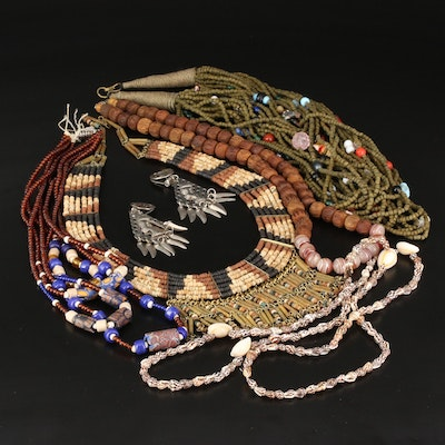 African Trade Bead Necklace and Earring Selection