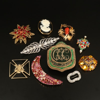 Vintage Brooches Featuring Grosse of Germany and Rhinestones