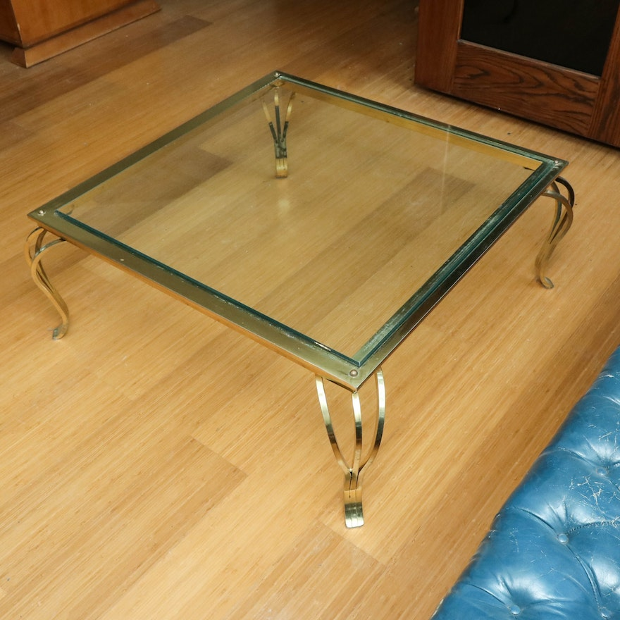 Contemporary Brass and Glass-Top Coffee Table