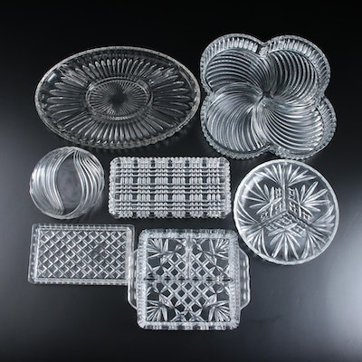 Clear Pressed Glass Serving Trays and Platters, Mid to Late 20th Century