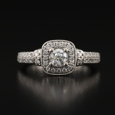 "Vera Wang ""Love"" 14K Diamond Ring with Peek-a-Boo Sapphire Accent"