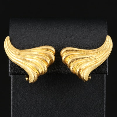 "Greek Maramenos & Pateras ""Waves"" 18K Clip Earrings"