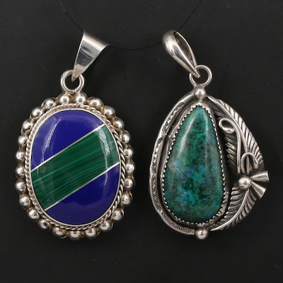 Mexican Sterling Chrysocolla and Resin Inlay Pendants