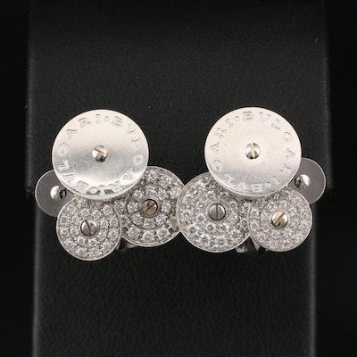 """BVLGARI """"Cicladi"""" 18K Diamond Button Earrings with Rotating Disks"""