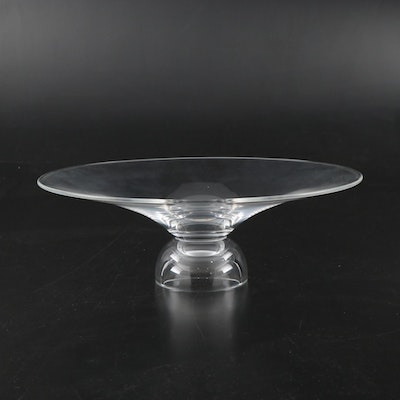 """Steuben Art Glass """"Shallow"""" Centerpiece Bowl, Mid to Late 20th Century"""