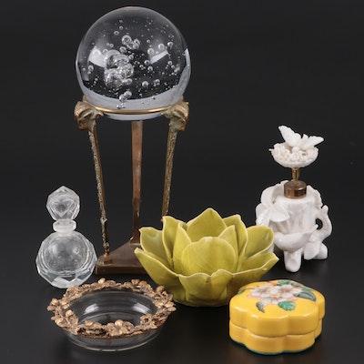 Bird and Tree Form Perfume Atomizer, Porcelain Trinket Box, More Vanity Items