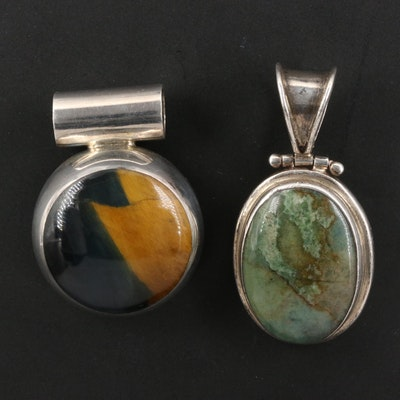 Sterling Tiger's Eye and Eilat Stone Pendants