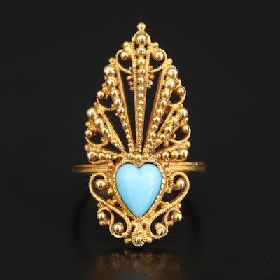 14K Imitation Turquoise Heart Ring with Granulation