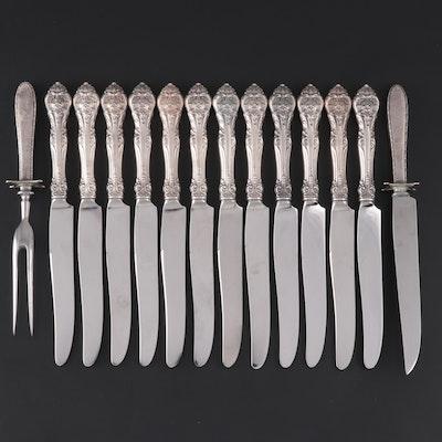 """Gorham """"King Edward"""" Sterling Handled Dinner Knives and Other Carving Set"""